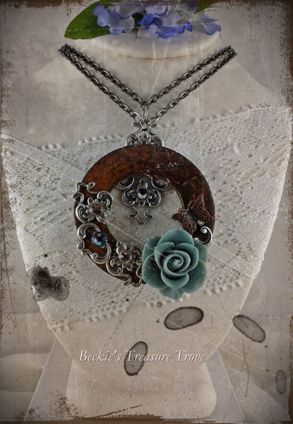 Strong as Steel Series / Steampunk Upcycled Rusty Washer Necklace / Mixed Metals Swarovski Crystal and Blue Resin Rose Cabochon